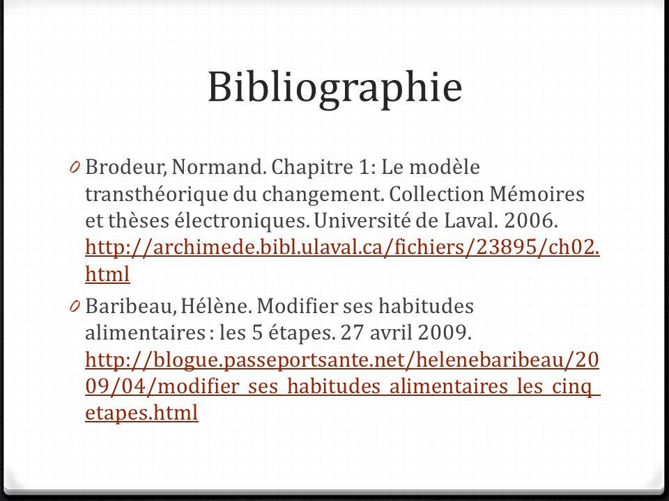 Bibliographie 0 Brodeur, Normand. Chapitre 1: Le modèle transthéorique du changement. Collection Mémoires et thèses électroniques. Université de Laval