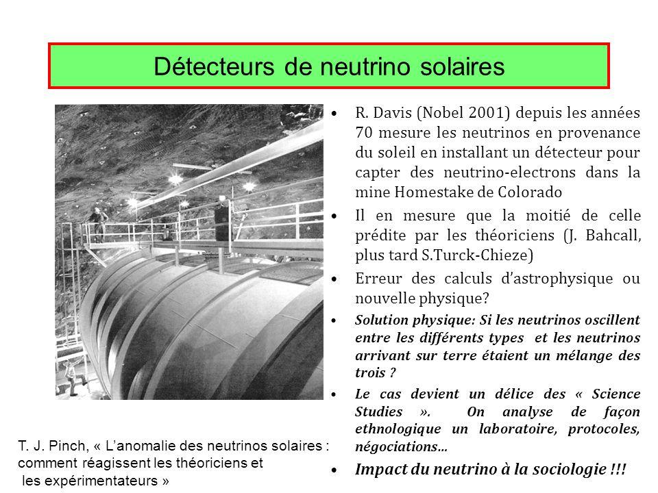 Détecteurs de neutrino solaires R. Davis (Nobel 2001) depuis les années 70 mesure les neutrinos en provenance du soleil en installant un détecteur pou