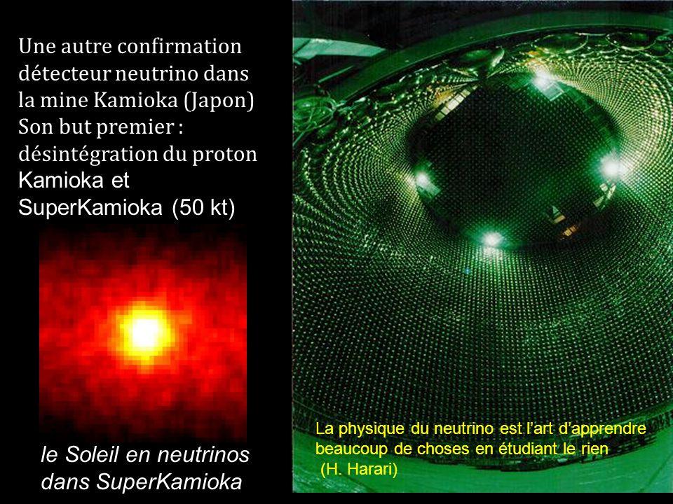 Une autre confirmation détecteur neutrino dans la mine Kamioka (Japon) Son but premier : désintégration du proton Kamioka et SuperKamioka (50 kt) Le s