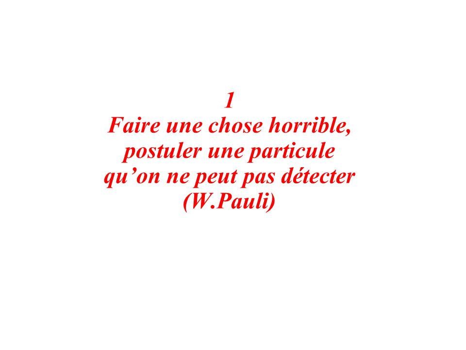 1 Faire une chose horrible, postuler une particule quon ne peut pas détecter (W.Pauli)