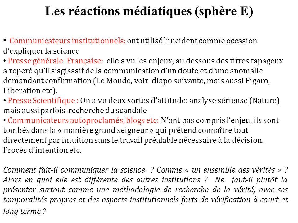 Les réactions médiatiques (sphère E) Communicateurs institutionnels: ont utilisé lincident comme occasion dexpliquer la science Presse générale França