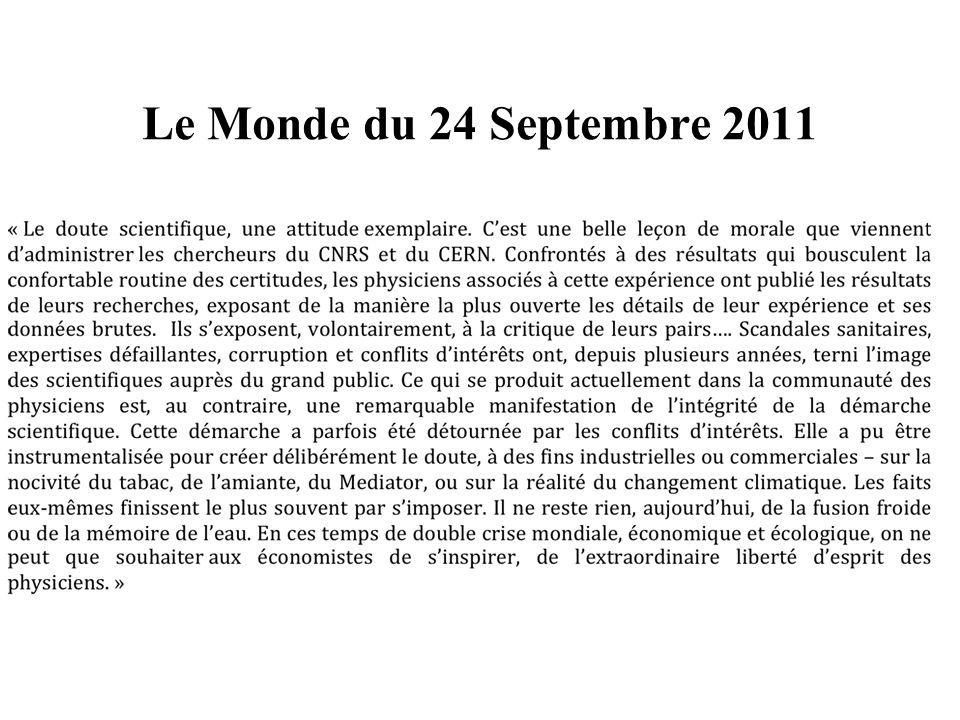 Le Monde du 24 Septembre 2011