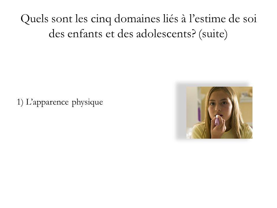 Quels sont les cinq domaines liés à lestime de soi des enfants et des adolescents? (suite) 1) Lapparence physique