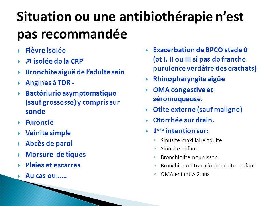 Situation ou une antibiothérapie nest pas recommandée Exacerbation de BPCO stade 0 (et I, II ou III si pas de franche purulence verdâtre des crachats) Rhinopharyngite aigüe OMA congestive et séromuqueuse.