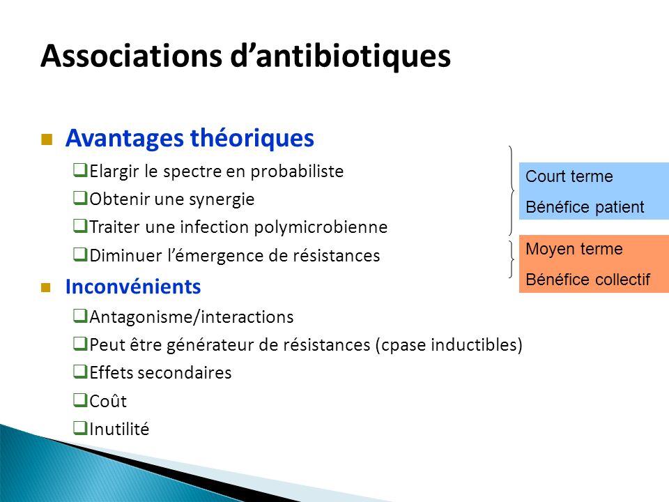 Associations dantibiotiques Avantages théoriques Elargir le spectre en probabiliste Obtenir une synergie Traiter une infection polymicrobienne Diminue
