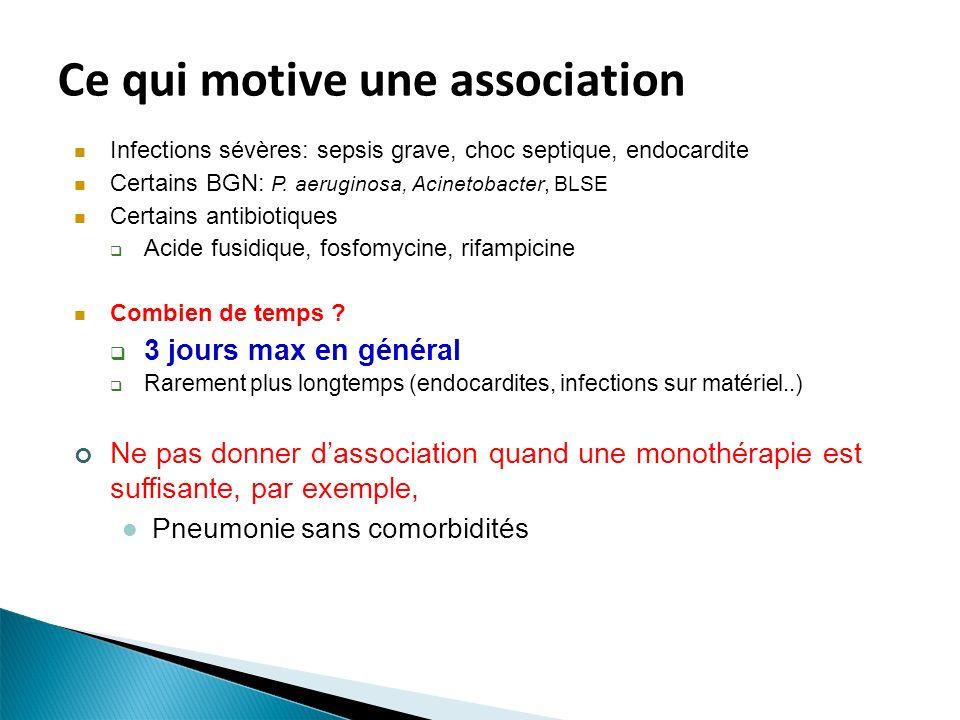 Ce qui motive une association Infections sévères: sepsis grave, choc septique, endocardite Certains BGN: P. aeruginosa, Acinetobacter, BLSE Certains a