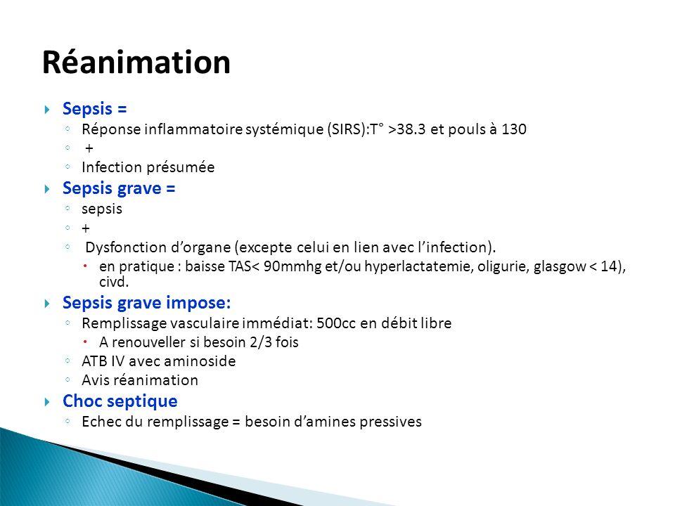 Réanimation Sepsis = Réponse inflammatoire systémique (SIRS):T° >38.3 et pouls à 130 + Infection présumée Sepsis grave = sepsis + Dysfonction dorgane (excepte celui en lien avec linfection).