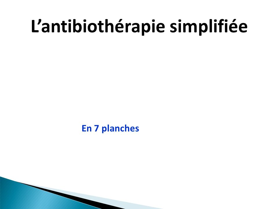 Lantibiothérapie simplifiée En 7 planches