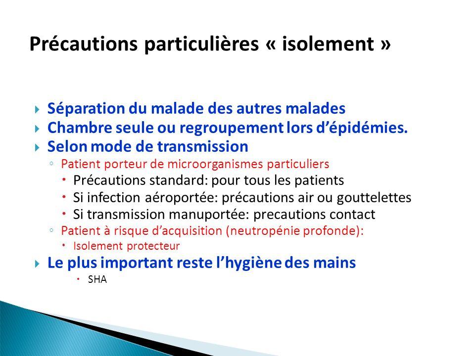 Précautions particulières « isolement » Séparation du malade des autres malades Chambre seule ou regroupement lors dépidémies. Selon mode de transmiss