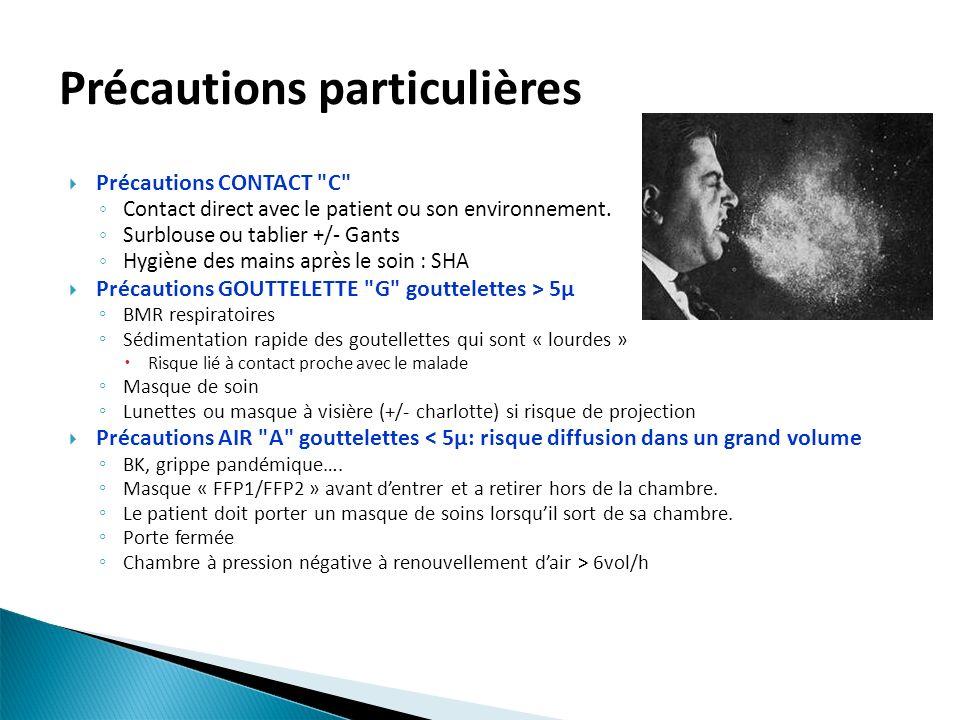 Précautions particulières Précautions CONTACT C Contact direct avec le patient ou son environnement.