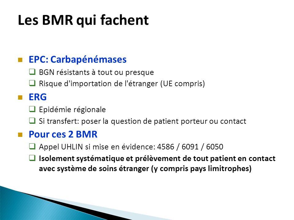 Les BMR qui fachent EPC: Carbapénémases BGN résistants à tout ou presque Risque d'importation de l'étranger (UE compris) ERG Epidémie régionale Si tra