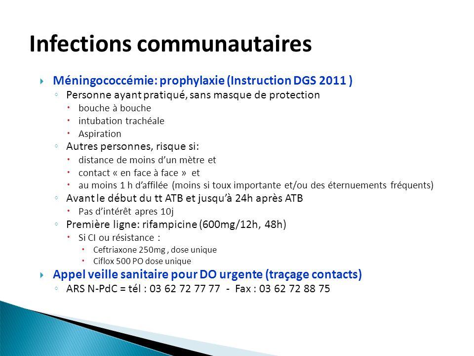 Infections communautaires Méningococcémie: prophylaxie (Instruction DGS 2011 ) Personne ayant pratiqué, sans masque de protection bouche à bouche intu