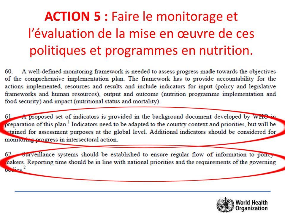 ACTION 5 : Faire le monitorage et lévaluation de la mise en œuvre de ces politiques et programmes en nutrition.