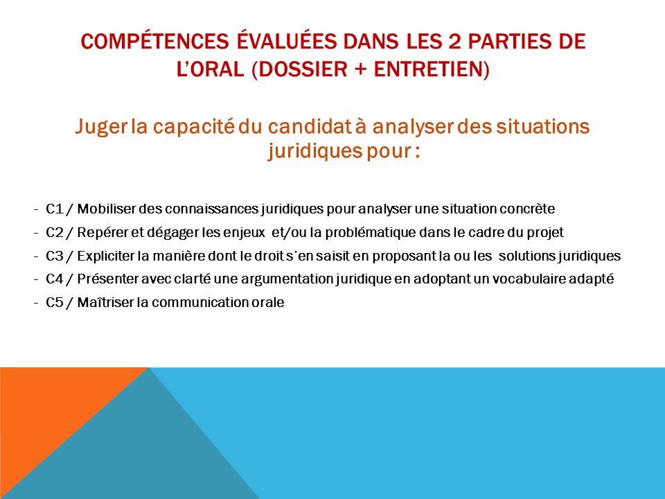 COMPÉTENCES ÉVALUÉES DANS LES 2 PARTIES DE LORAL (DOSSIER + ENTRETIEN) Juger la capacité du candidat à analyser des situations juridiques pour : - C1
