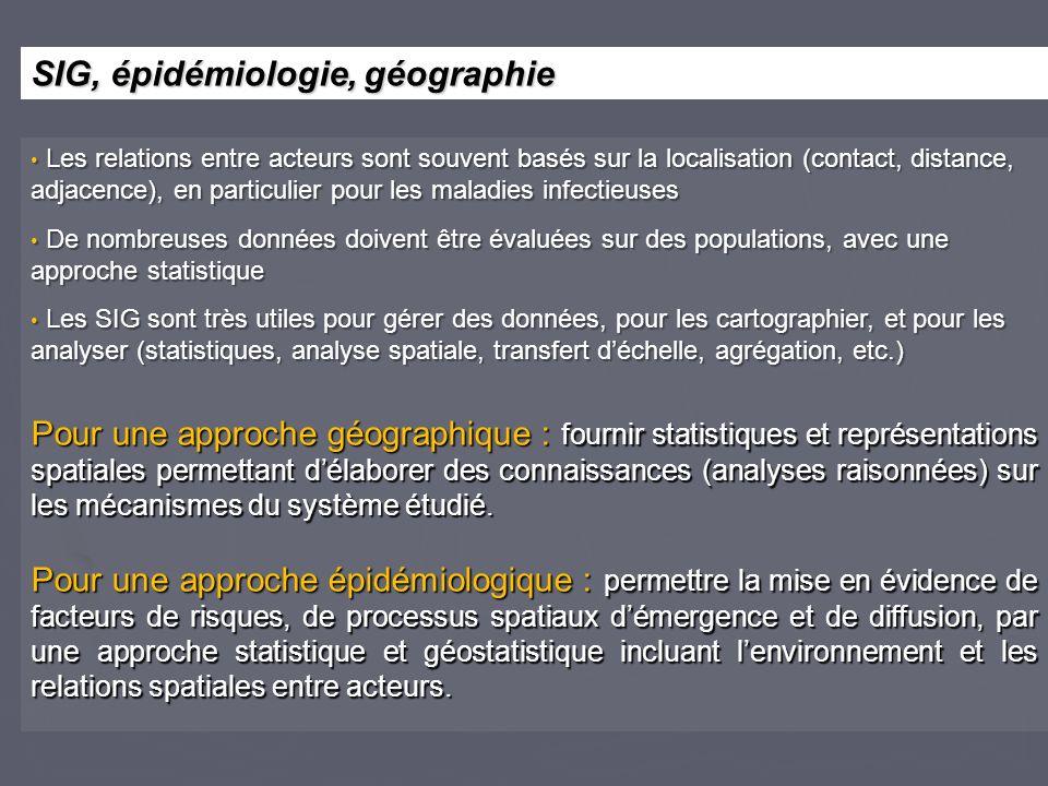 Les relations entre acteurs sont souvent basés sur la localisation (contact, distance, adjacence), en particulier pour les maladies infectieuses Les r