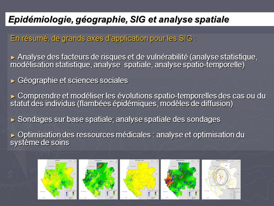 En résumé, de grands axes dapplication pour les SIG : Analyse des facteurs de risques et de vulnérabilité (analyse statistique, modélisation statistiq