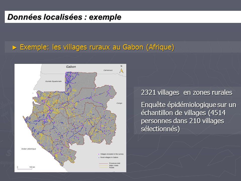 Exemple: les villages ruraux au Gabon (Afrique) Exemple: les villages ruraux au Gabon (Afrique) 2321 villages en zones rurales Enquête épidémiologique sur un échantillon de villages (4514 personnes dans 210 villages sélectionnés) Données localisées : exemple