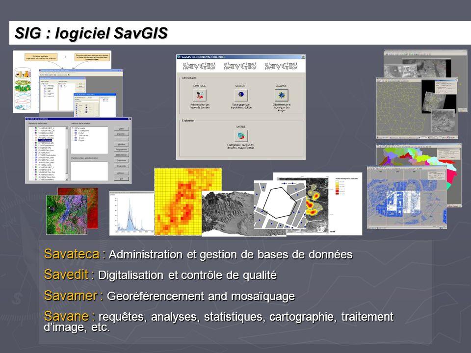 Savateca : Administration et gestion de bases de données Savedit : Digitalisation et contrôle de qualité Savamer : Georéférencement and mosaïquage Sav