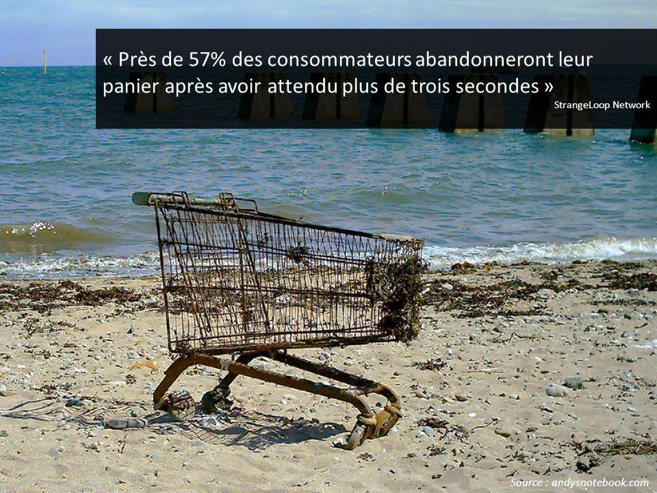 « Près de 57% des consommateurs abandonneront leur panier après avoir attendu plus de trois secondes » StrangeLoop Network Source : andysnotebook.com