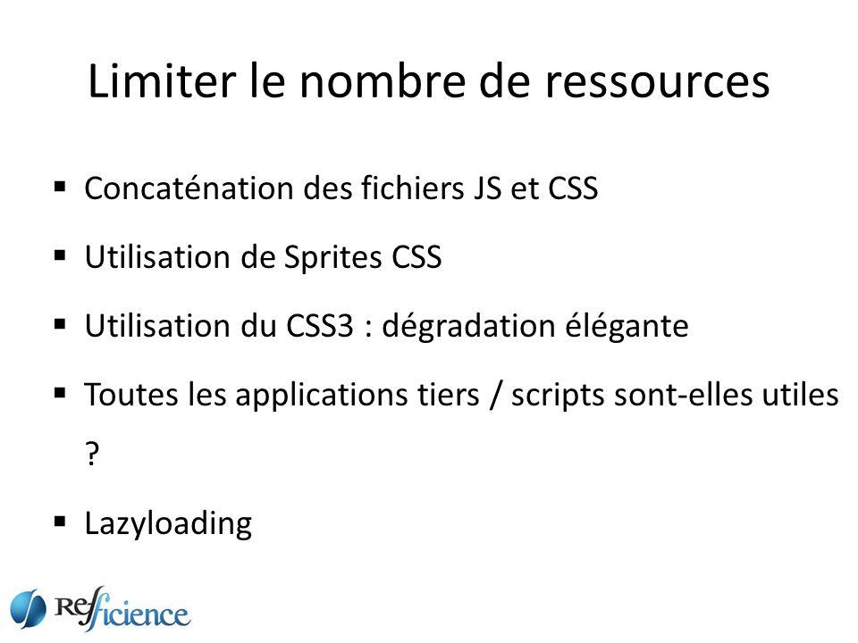 Limiter le nombre de ressources Concaténation des fichiers JS et CSS Utilisation de Sprites CSS Utilisation du CSS3 : dégradation élégante Toutes les applications tiers / scripts sont-elles utiles .