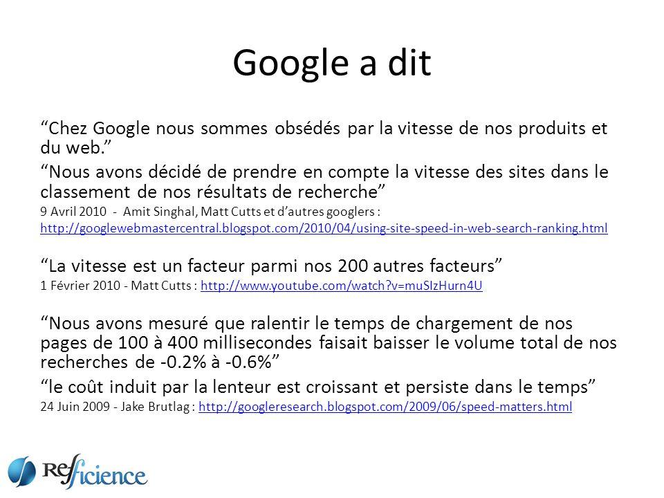 Google a dit Chez Google nous sommes obsédés par la vitesse de nos produits et du web.