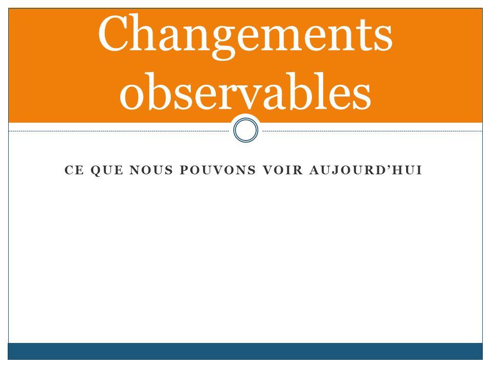 CE QUE NOUS POUVONS VOIR AUJOURDHUI Changements observables