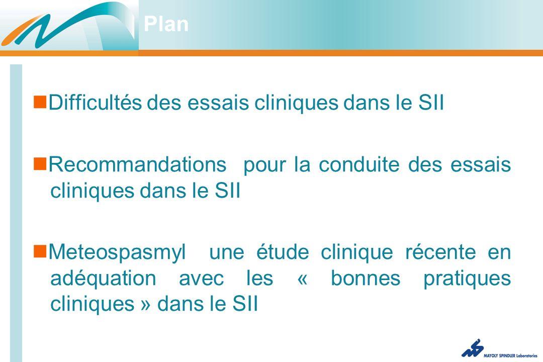 Plan Difficultés des essais cliniques dans le SII Recommandations pour la conduite des essais cliniques dans le SII Meteospasmyl une étude clinique récente en adéquation avec les « bonnes pratiques cliniques » dans le SII
