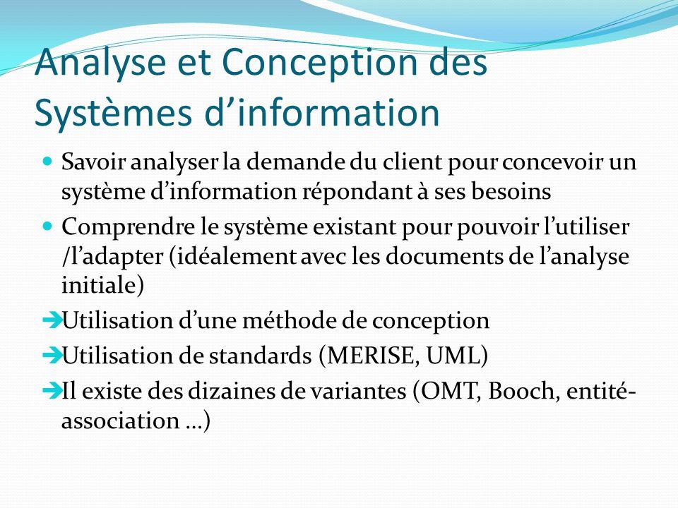 Analyse et Conception des Systèmes dinformation Savoir analyser la demande du client pour concevoir un système dinformation répondant à ses besoins Co