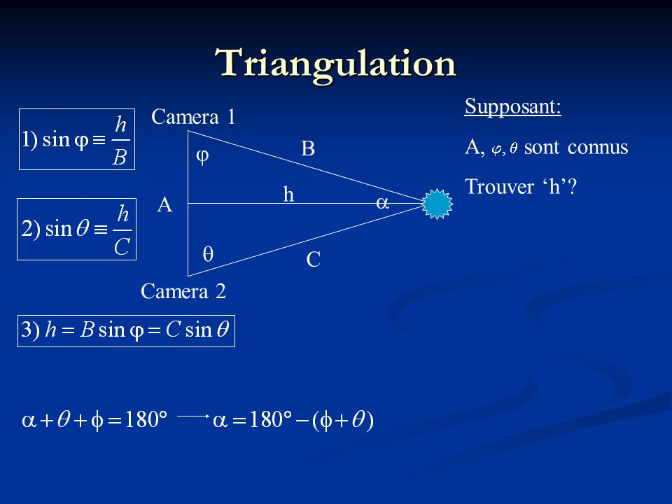A B h Camera 1 Camera 2 Triangulation Supposant: A,, sont connus Trouver h? C