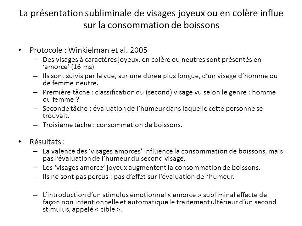 La présentation subliminale de visages joyeux ou en colère influe sur la consommation de boissons Protocole : Winkielman et al. 2005 – Des visages à c
