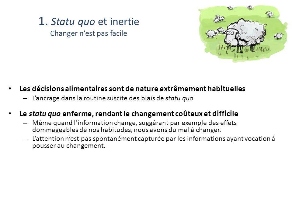 1. Statu quo et inertie Changer nest pas facile Les décisions alimentaires sont de nature extrêmement habituelles – Lancrage dans la routine suscite d