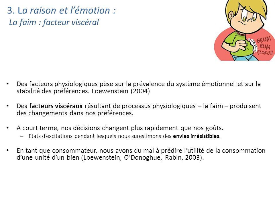 3. La raison et lémotion : La faim : facteur viscéral Des facteurs physiologiques pèse sur la prévalence du système émotionnel et sur la stabilité des