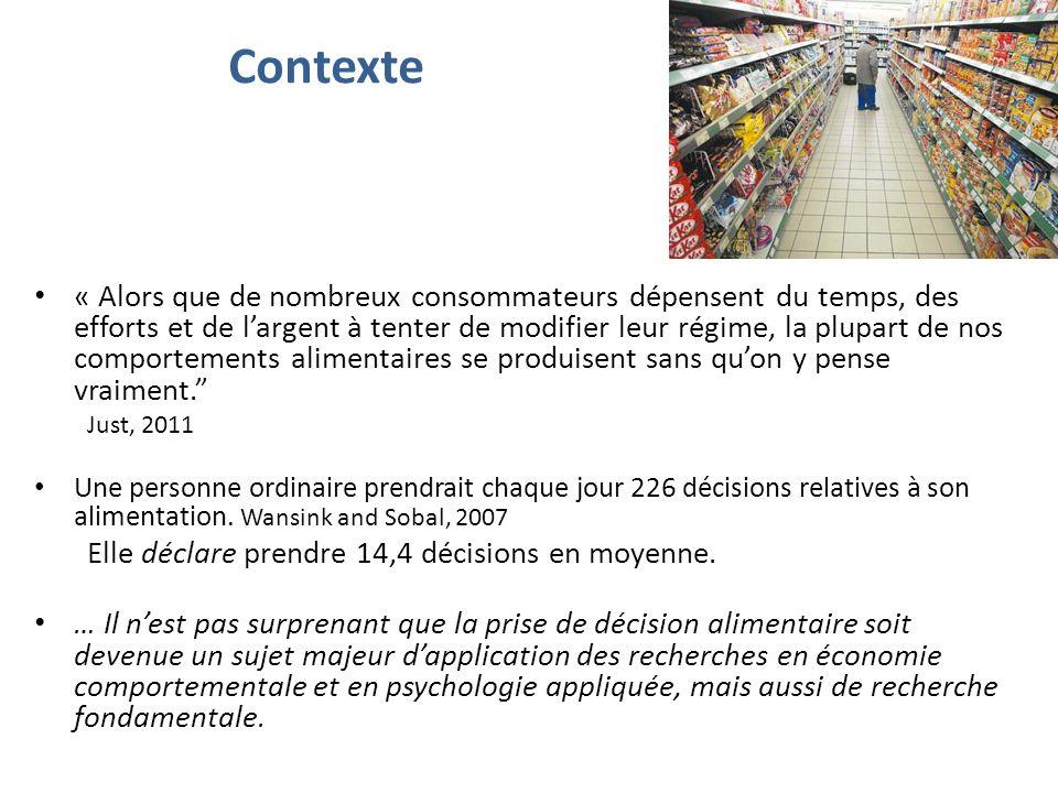 Contexte « Alors que de nombreux consommateurs dépensent du temps, des efforts et de largent à tenter de modifier leur régime, la plupart de nos comportements alimentaires se produisent sans quon y pense vraiment.