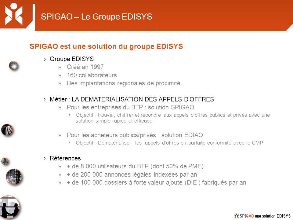 SPIGAO – Le Groupe EDISYS Groupe EDISYS »Créé en 1997 »160 collaborateurs »Des implantations régionales de proximité Métier : LA DEMATERIALISATION DES