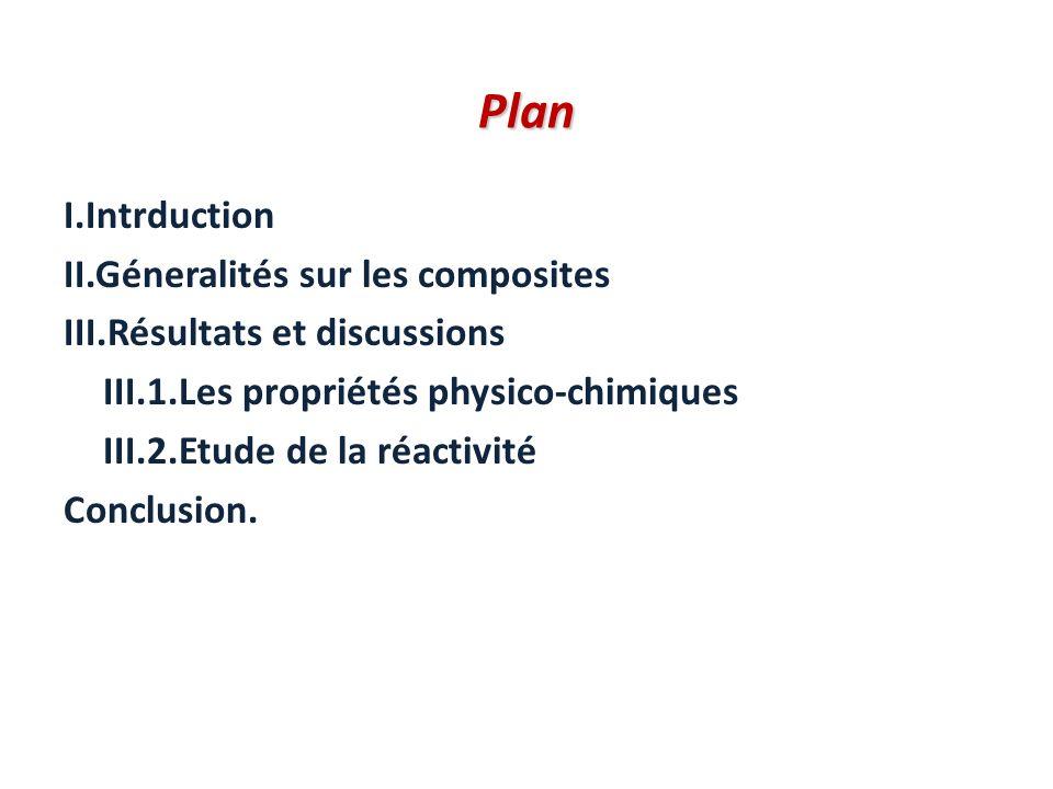 Plan Plan I.Intrduction II.Géneralités sur les composites III.Résultats et discussions III.1.Les propriétés physico-chimiques III.2.Etude de la réacti