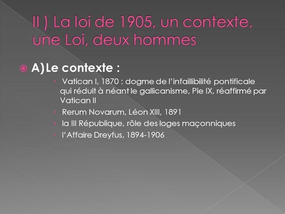 A)Le contexte : Vatican I, 1870 : dogme de linfaillibilité pontificale qui réduit à néant le gallicanisme, Pie IX, réaffirmé par Vatican II Rerum Nova