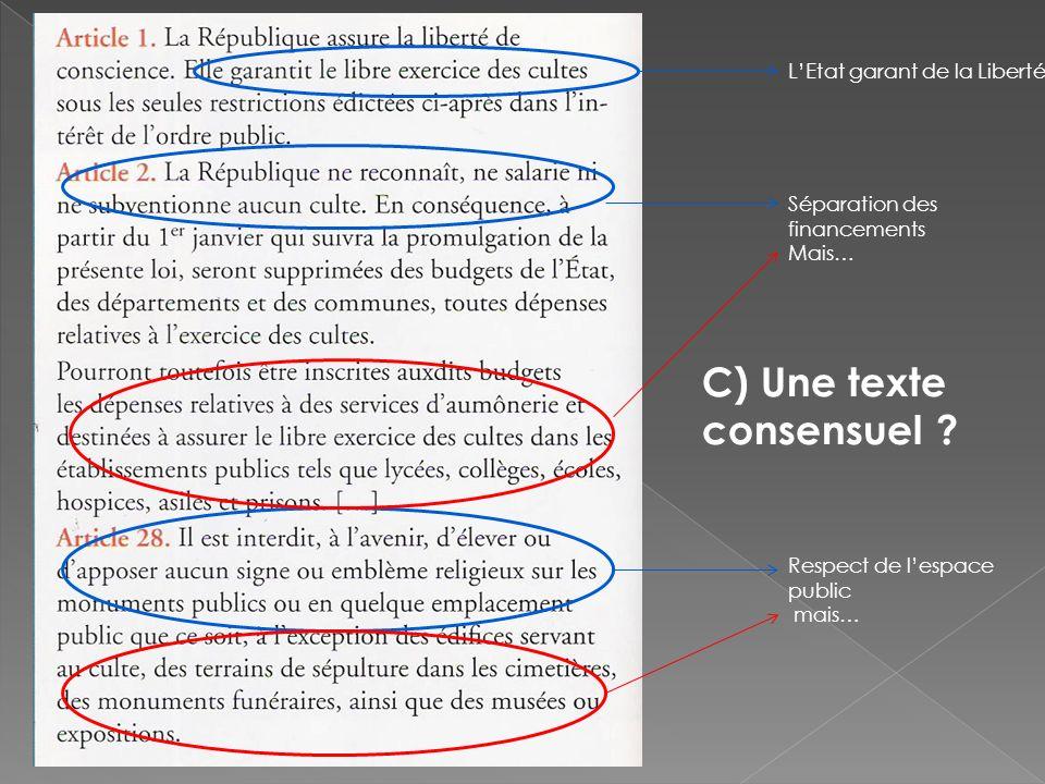 LEtat garant de la Liberté Séparation des financements Mais… Respect de lespace public mais… C) Une texte consensuel ?