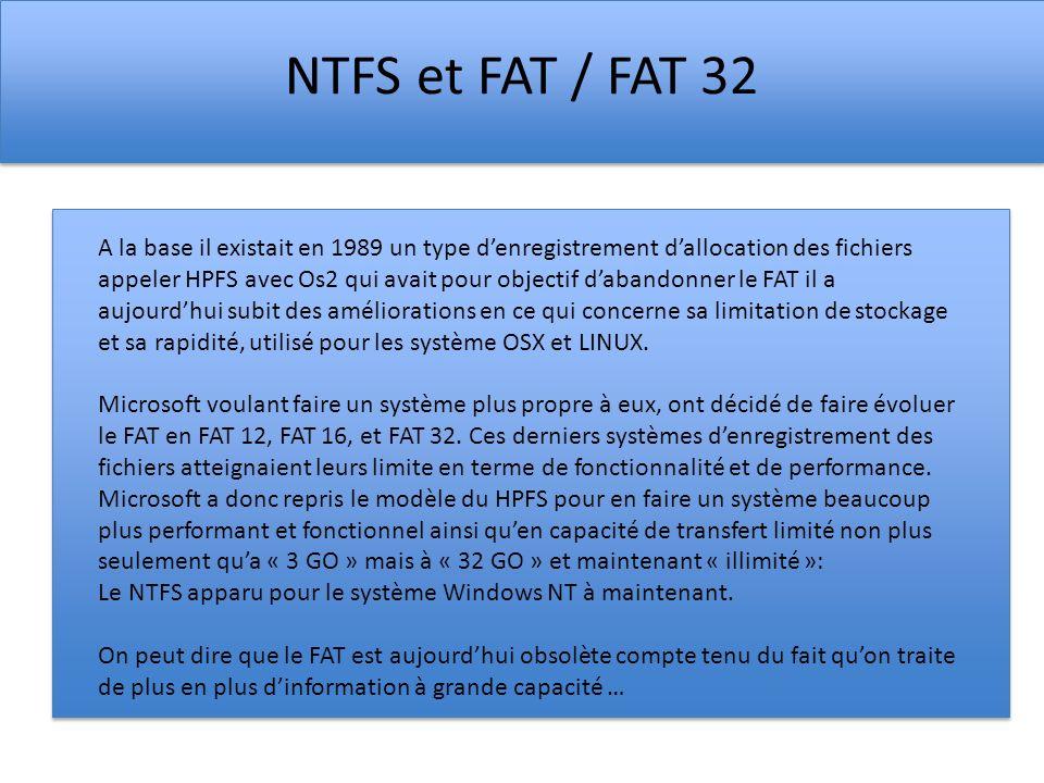 NTFS et FAT / FAT 32 A la base il existait en 1989 un type denregistrement dallocation des fichiers appeler HPFS avec Os2 qui avait pour objectif daba