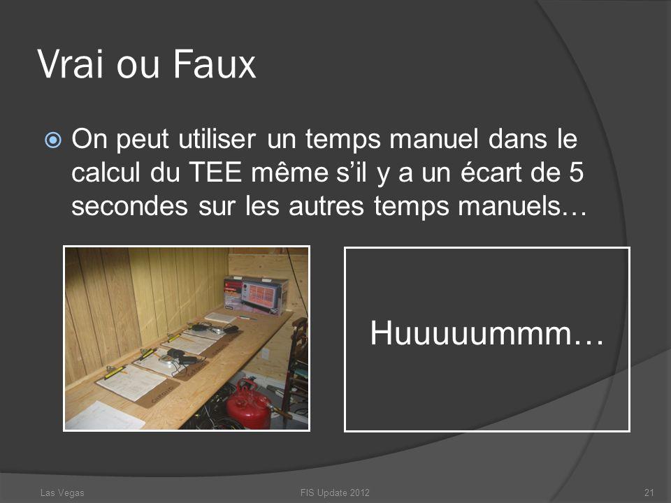 Vrai ou Faux On peut utiliser un temps manuel dans le calcul du TEE même sil y a un écart de 5 secondes sur les autres temps manuels… FIS Update 20122