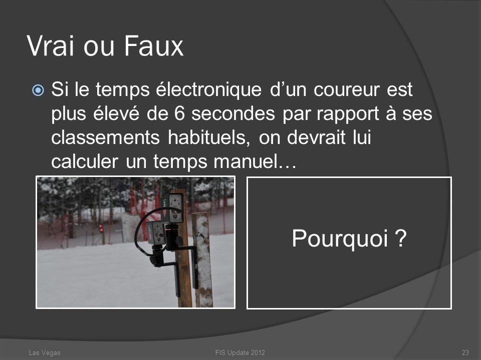 Vrai ou Faux FIS Update 201223 Pourquoi ? Las Vegas Si le temps électronique dun coureur est plus élevé de 6 secondes par rapport à ses classements ha