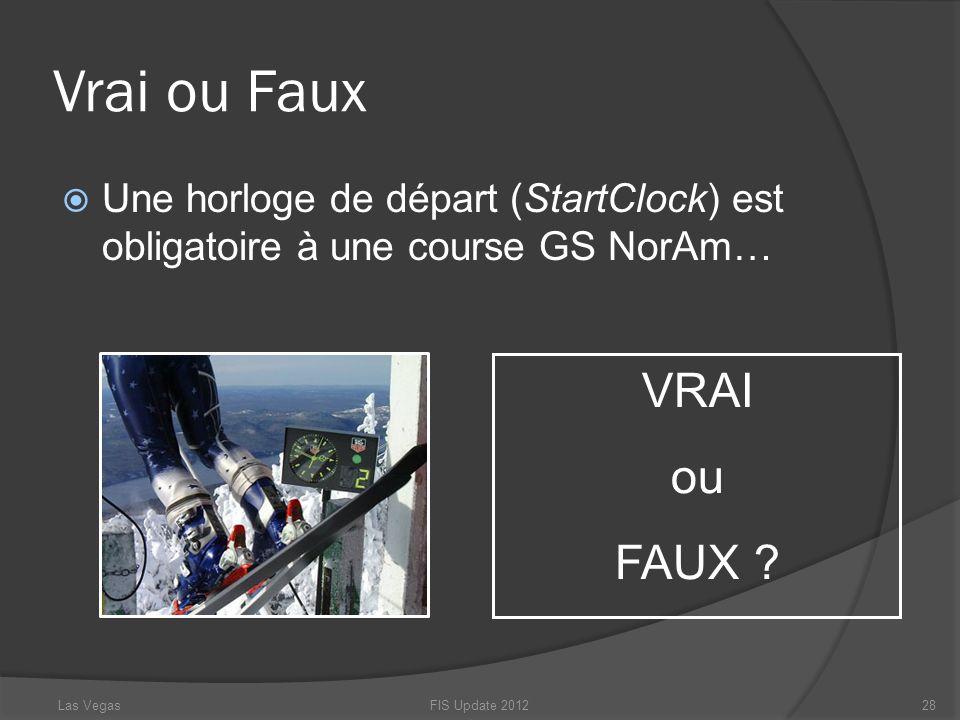 Vrai ou Faux Une horloge de départ (StartClock) est obligatoire à une course GS NorAm… FIS Update 201228 VRAI ou FAUX ? Las Vegas