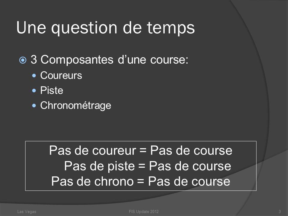 Une question de temps 3 Composantes dune course: Coureurs Piste Chronométrage Pas de coureur = Pas de course Pas de piste = Pas de course Pas de chron