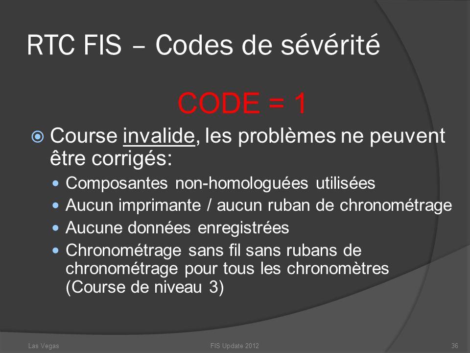 RTC FIS – Codes de sévérité CODE = 1 Course invalide, les problèmes ne peuvent être corrigés: Composantes non-homologuées utilisées Aucun imprimante /