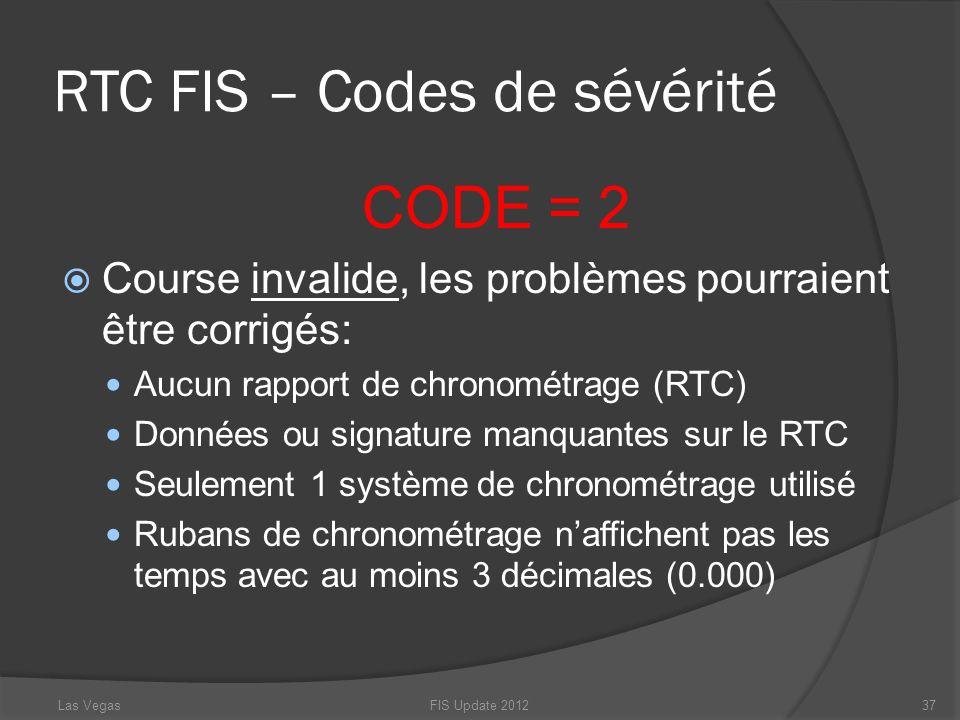RTC FIS – Codes de sévérité CODE = 2 Course invalide, les problèmes pourraient être corrigés: Aucun rapport de chronométrage (RTC) Données ou signatur