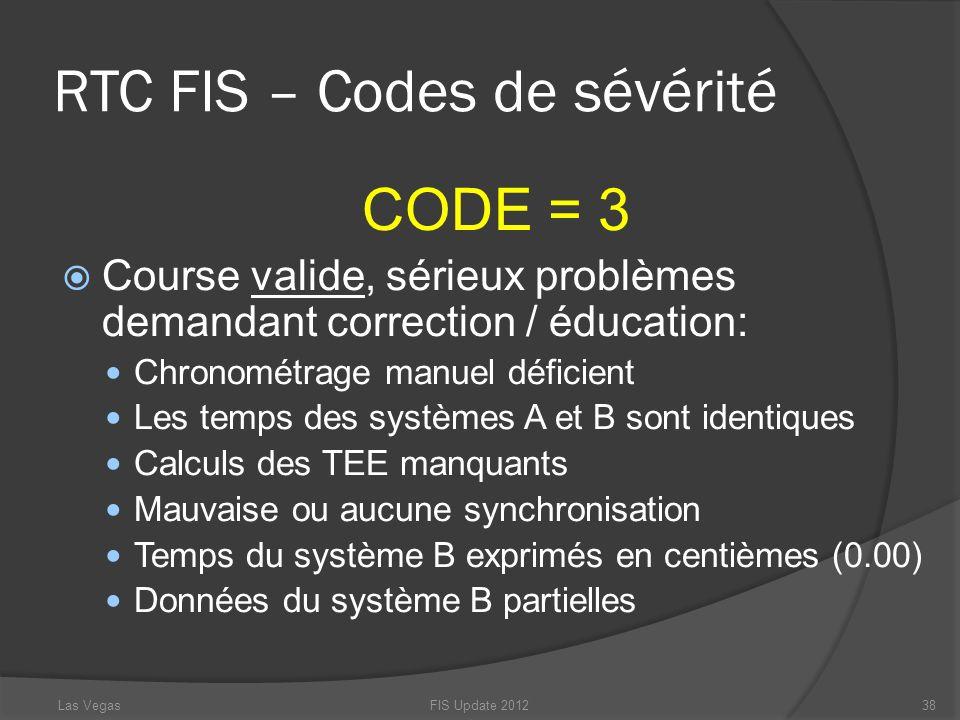 RTC FIS – Codes de sévérité CODE = 3 Course valide, sérieux problèmes demandant correction / éducation: Chronométrage manuel déficient Les temps des s
