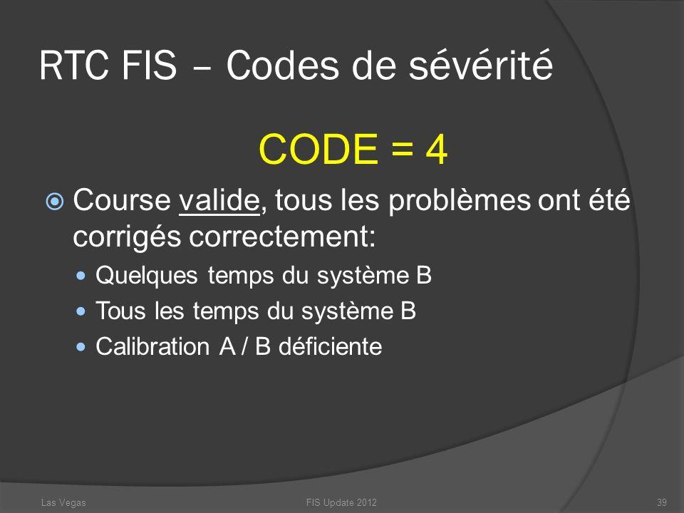 RTC FIS – Codes de sévérité CODE = 4 Course valide, tous les problèmes ont été corrigés correctement: Quelques temps du système B Tous les temps du sy