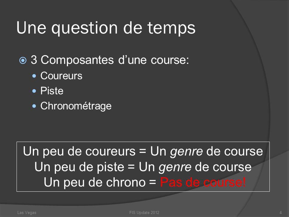Une question de temps 3 Composantes dune course: Coureurs Piste Chronométrage Un peu de coureurs = Un genre de course Un peu de piste = Un genre de co