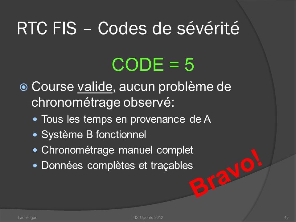 RTC FIS – Codes de sévérité CODE = 5 Course valide, aucun problème de chronométrage observé: Tous les temps en provenance de A Système B fonctionnel C