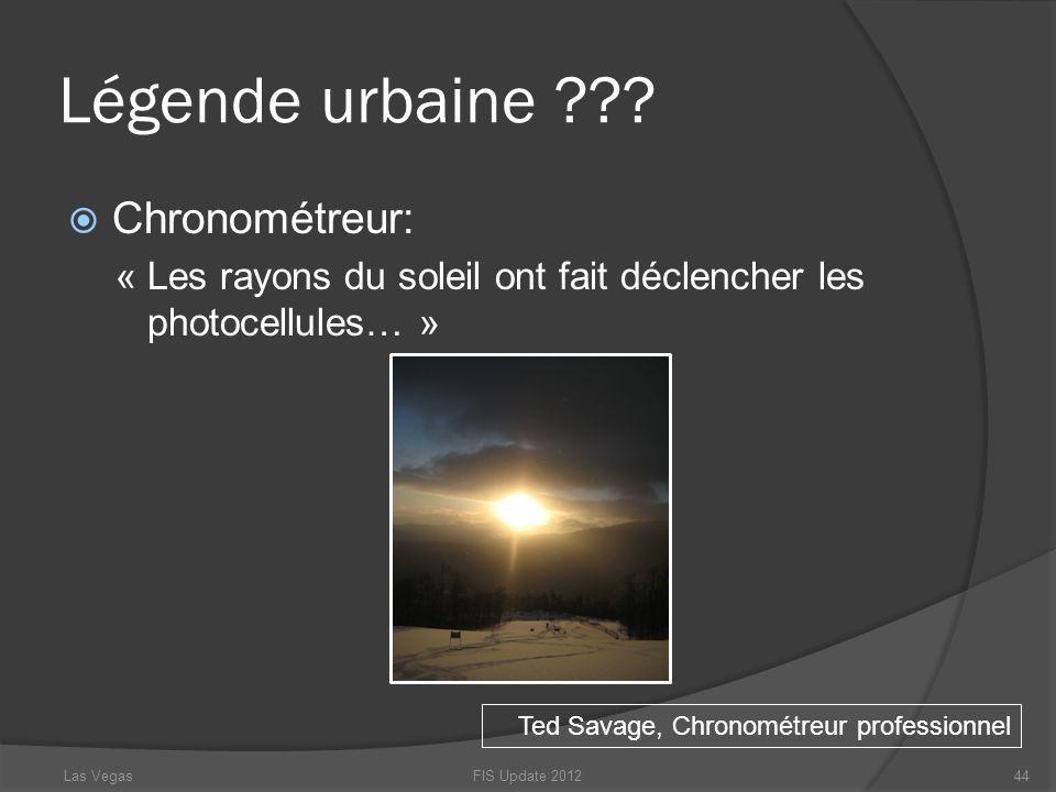Légende urbaine ??? Chronométreur: « Les rayons du soleil ont fait déclencher les photocellules… » Ted Savage, Chronométreur professionnel FIS Update