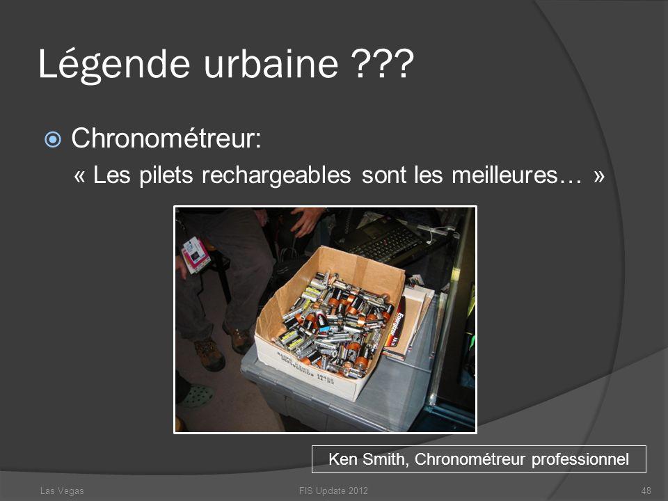 Légende urbaine ??? Chronométreur: « Les pilets rechargeables sont les meilleures… » FIS Update 201248 Ken Smith, Chronométreur professionnel Las Vega